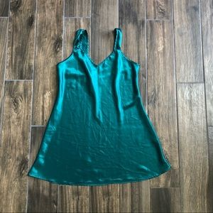 vintage adonna Teal Slip Dress Nightgown Y2K Large